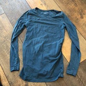 GAP Maternity Sea Blue Ls Rouch Stretch Top S